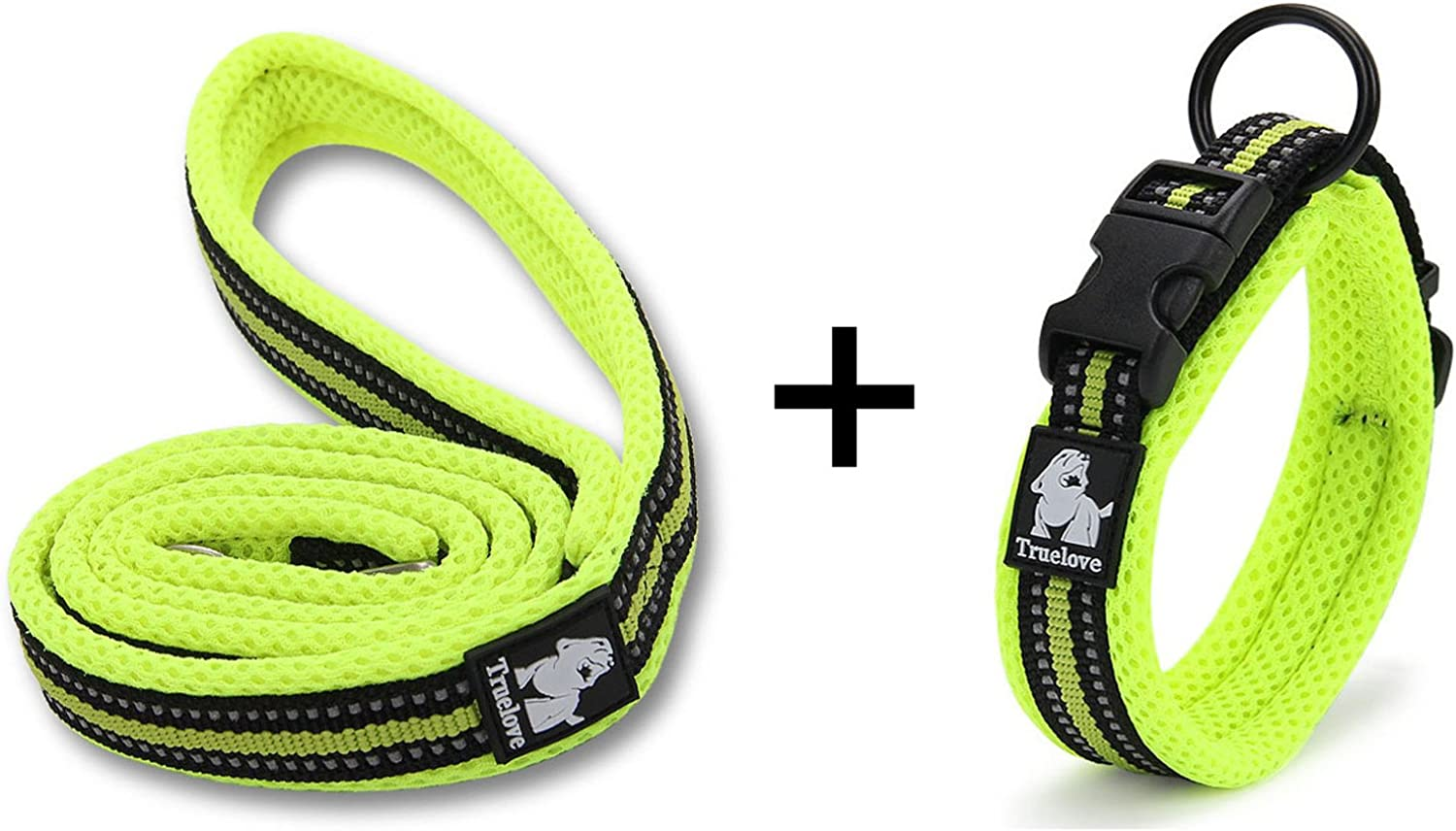 OCSOSO New Padded Soft Breathable Mesh 3M Reflective Pet Collar & Leash for Dog Cat Trainning Pet Safety Collars, Easy Buckle Design, Green (Leash is 110cm Lenght) ( 1)