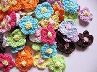 Crochet Phlox Flower Appliques set of 12 in Sea Blue cotton yarn