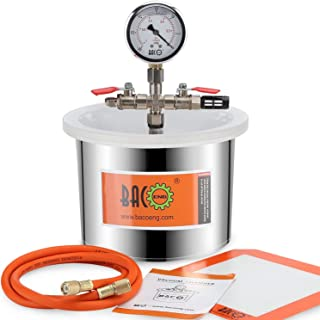BACOENG 1.5 Gallon Stainless Steel Vacuum Chamber Silicone Kit for Degassing Resins, Silicone and Epoxies