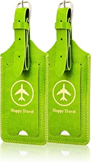 [2 Pack]Luggage Tags, ACdream Leather Case Luggage Bag Tags Travel Tags 2 Pieces Set, Green