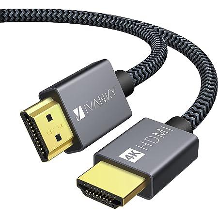 HDMI ケーブル【2M/4K60Hz/6種長さ】iVANKY HDMI2.0規格 PS5/PS4/3,Xbox, Nintendo Switch, Apple TV, Fire TVなど適用18gbps 4K60Hz/HDR/3D/イーサネット対応 テレビ ハイスピードプレミアム