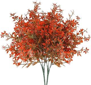 HUAESIN 2Pcs Flores Artificiales Pequeña Hojas de Arce Otoño Ramo Flores Artificiales Exterior Interior Plastico de Flores Falsa Planta de Jardin Arbusto Artificial para Jarron Jardin Balcon Valla