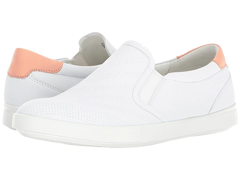 ECCO Aimee Perforated Slip-On (White/Muted Clay) Women