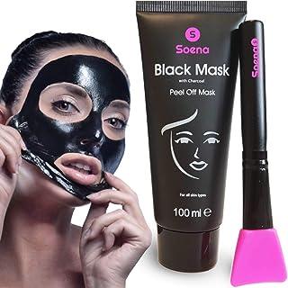 Das ORIGINAL - SOENA Black Mask  MASKENPINSEL | XXL Tube 100 ml | Entfernt Mitesser – Peel-Off Maske - Gegen unreine Haut | Mit Aktivkohle | Schwarze Maske zum abziehen - Blackhead Maske