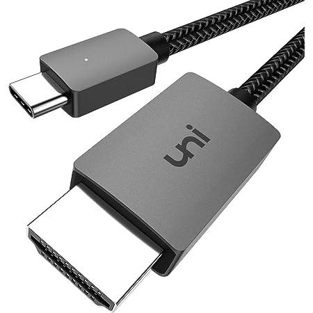 Câble USB C vers HDMI 4K, uni Cable USB Type C HDMI (Compatible Thunderbolt 3), Compatible avec iPad Pro 2018/Air 2020, MacBook, Samsung S20, Huawei P40, Surface Pro 7 et Plus - 1,8m