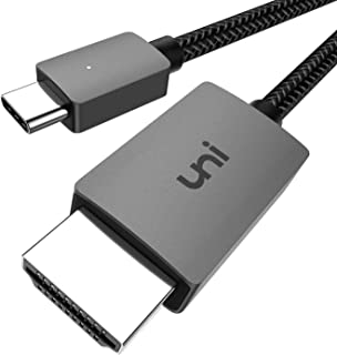 USB C to HDMI Cable, uni USB Type C to HDMI Cable[Thunderbolt 3 Compatible] for Home Office, 4K, Compatible for MacBook Pro, iPad Air 4, iPad Pro 2020, MacBook Air, iMac, S20, XPS 15 and More -6ft