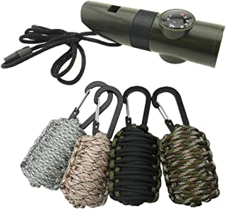 TRENDBOX Multifunctional Survival Paracord Kit + Emergency 7 in 1 Whistle with Compass Magnifier LED Flashlight Thermometer for Camping Hiking