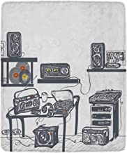 YOLIYANA Modern Comfortable Blanket,Recording Studio with Music Devices Turntable Records Speakers Digital Illustration for Travel,49'' W x 79'' H