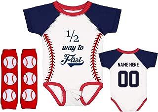 Half Birthday 6 Month Onesie Baseball Half Way To First Shirt