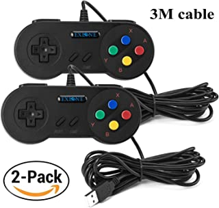 EXLENE 2 Pack Manette de Jeu SNES USB Controller Gamepad 10ft/3m, Retro SNES Classic USB Jeu Vidéo Joypad Gamepad pour PC ...