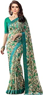 Rajeshwar Fashion With Rf Women's Georgette Printed Saree Lace Work With Blouse Piece (A15 Flower_Green_Free Size)