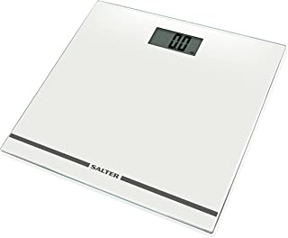 Salter. Báscula digital con pantalla grande, báscula electrónica de fácil lectura para un pesaje preciso, plataforma de vidrio ultra delgado, capacidad 180 kg, garantía de 15 años, blanco