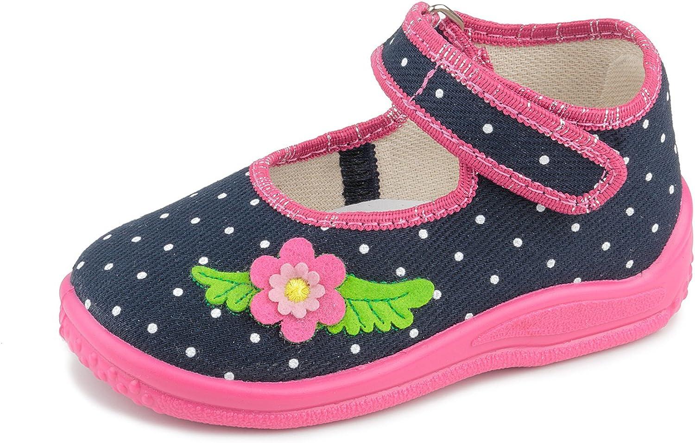 Zetpol Marlena 1451 Polka Dots Navy Blue Pink Hook-and-Loop Toddler Girls' Natural Canvas Mary Jane Flat
