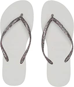 9510f4765a4dd6 White Silver Silver. Havaianas. Slim Logo Metallic Flip Flops.  32.00.  4Rated 4 stars4Rated 4 stars. Chevron