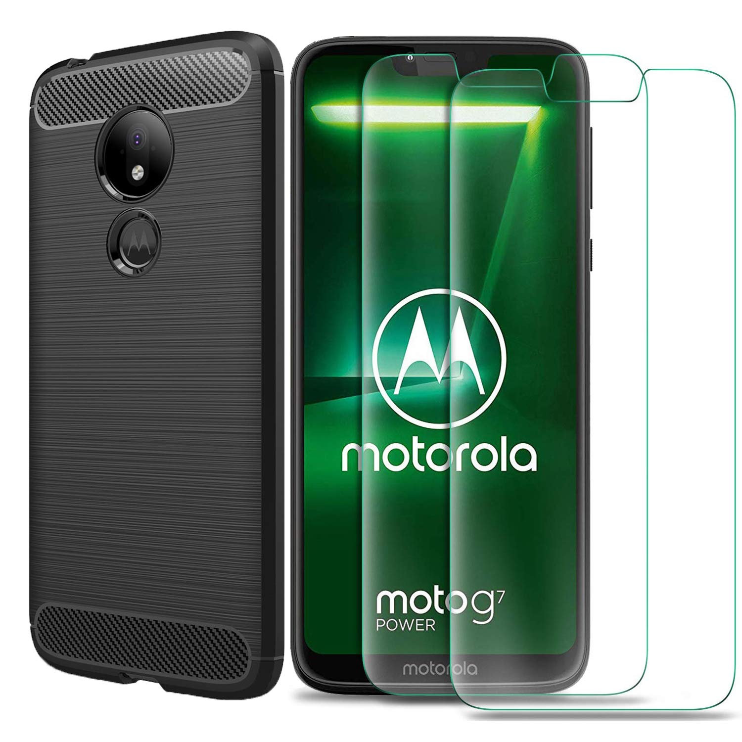 MYLBOO For Moto G7 Power Case with Screen Protector,[3 in 1] Soft Slim Flex TPU Silicone Case + [2 PACK] 9H Tempered Glass Screen Protector For Motorola Moto G7 Power (Black)