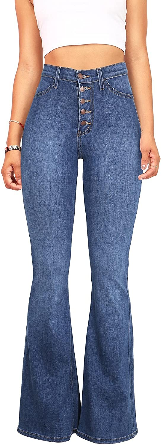 Vibrant Women S Juniors High Rise Button Fly Flare Jeans At Amazon Women S Jeans Store