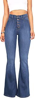 Women's Juniors High Rise Button Fly Flare Jeans