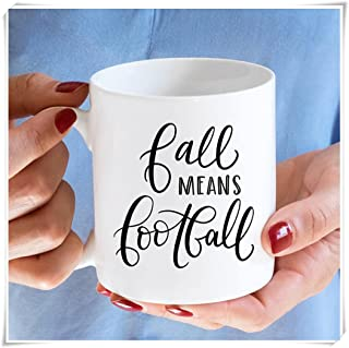 Fall Means Football Coffee College University Clemson Georgia Alabama South Carolina Florida Tailgate Ceramic Stainless Steel Travel Mug- 11oz Ceramic Coffee Mug Tea Cup, High Gloss