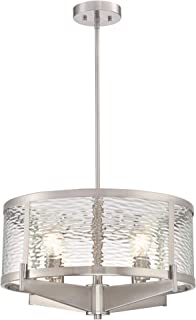 Westinghouse Lighting 6368200 Branston Four-Light Indoor Chandelier, Brushed Nickel Finish with Clear Water Glass