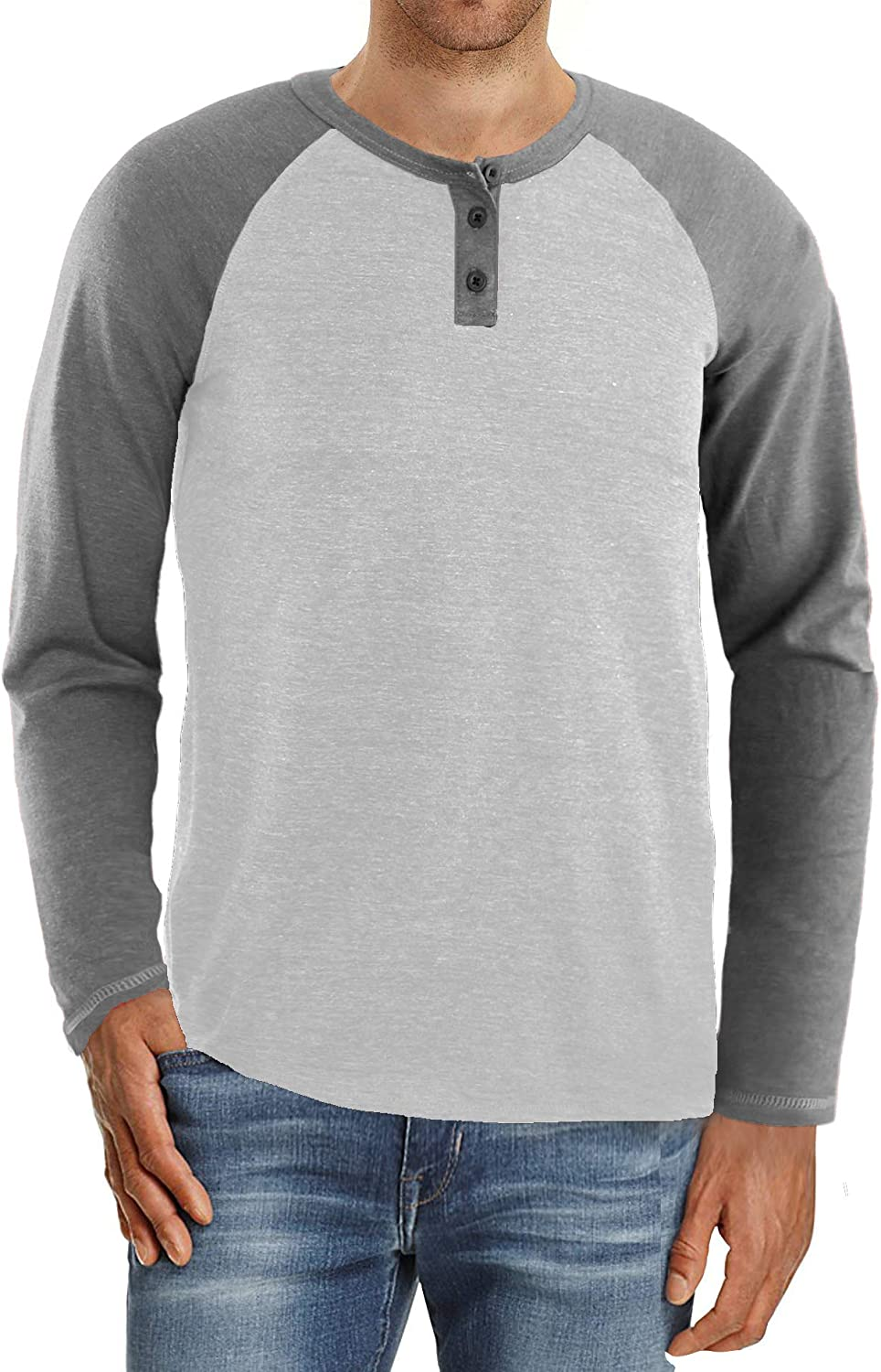 Yingqible Men's Max 49% OFF Long Sleeve Henley Casual Neck Basic Shirts Crew Ranking TOP20