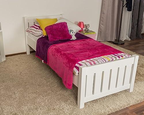 Kinderbett Jugendbett Buche massiv Vollholz Weiß 107, inkl. Lattenrost - Abmessung 80 x 200 cm