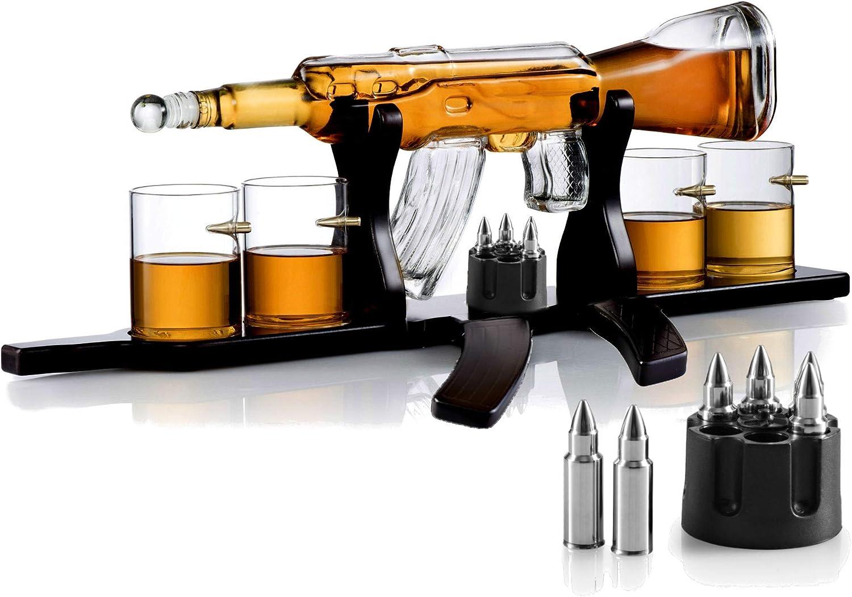 Whiskey Gun Decanter Price reduction Set + 4 Bullet Whisky Bargain sale on Glasses Shaped
