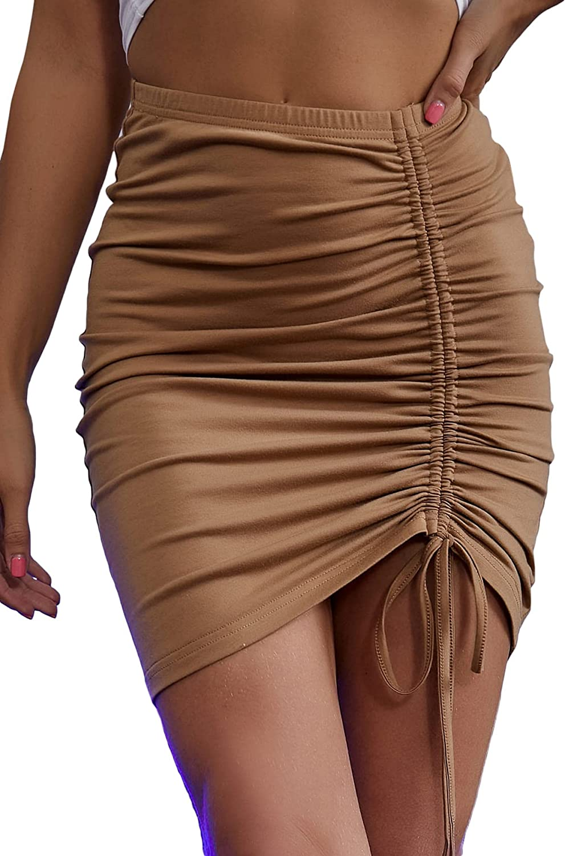 MakeMeChic Women's Solid High Elastic Waist Drawstring Side Bodycon Mini Skirt