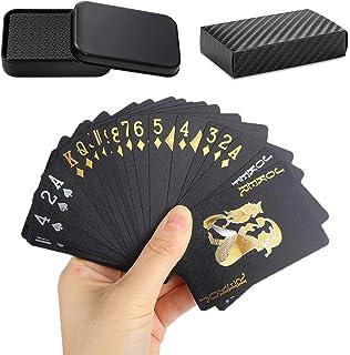 トランプ 54枚 プラスチック製 マジックトランプ ブラック ゴールド 防水 金箔 トランプ パーティー 集会 ゲーム 収納ケース付き