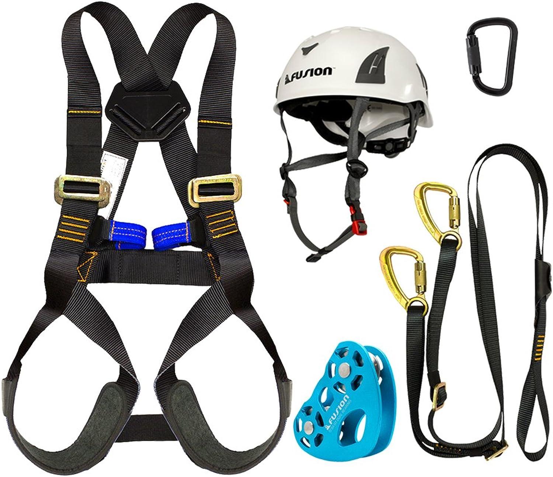 Fusion Climb Kids Backyard Zip Line Kit Harness Lanyard Trolley Carabiner Helmet Bundle FKKHLTCH02