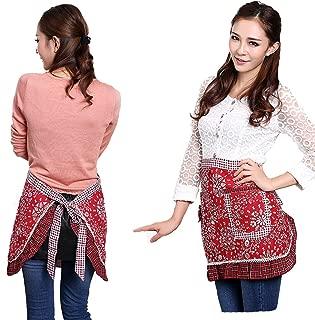 Hyzrz Waist Aprons with 2 Pockets Cotton for Women Girls Restaurant Waitress Waiter Half Bistro Apron, Red
