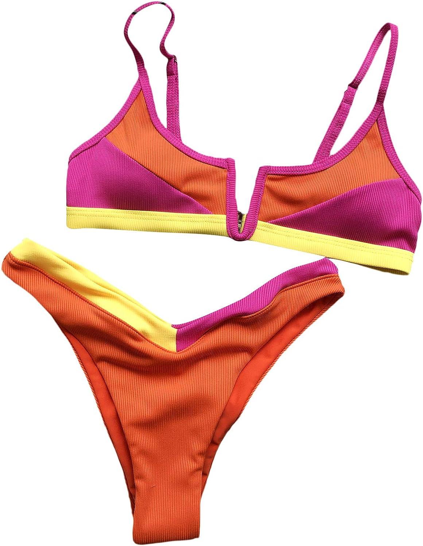 SOLY HUX Women's Color Block High Cut Bikini Bathing Suit 2 Piece Swimsuits