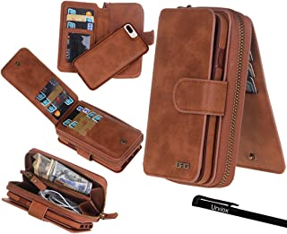 "Urvoix iPhone 7 Plus/8 Plus Case, Premium Leather Zipper Wallet Multi-functional Handbag Detachable Removable Magnetic Case with Flip Card Holder Cover for iPhone 7 Plus/8 Plus(5.5"") Brown"