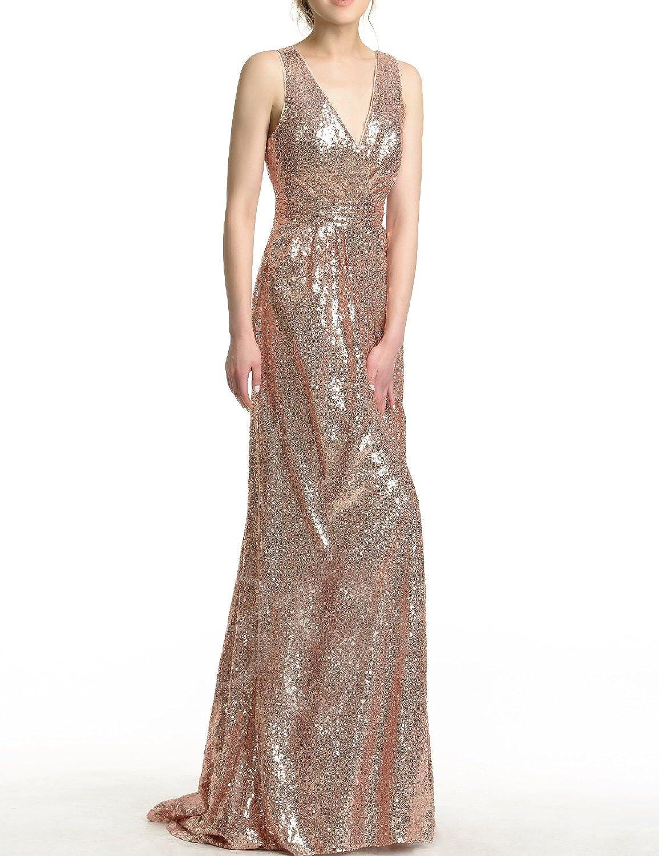 Vimans Women's Sequins V Neck Prom Dresses Formal Bridesmaid Gown Dress5149