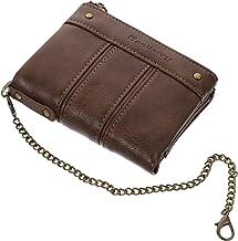 FRCOLOR Male PU Leather Chain Wallet Vintage Men Wallet Short Slim Male Coin Purse