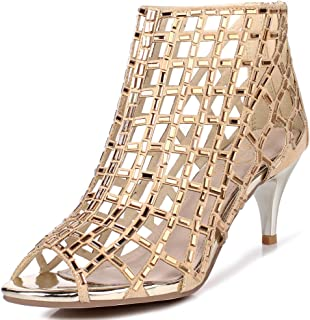 LizForm Women Cutout Sandal Boots Open Toe Stiletto Sandals Back Zipper Dress Shoes High Heels Boots