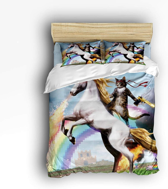 USOPHIA Twin Size 4 Pieces Bed Sheets Set, Cat Ride Unicorn 3D Print Floral Duvet Cover Set
