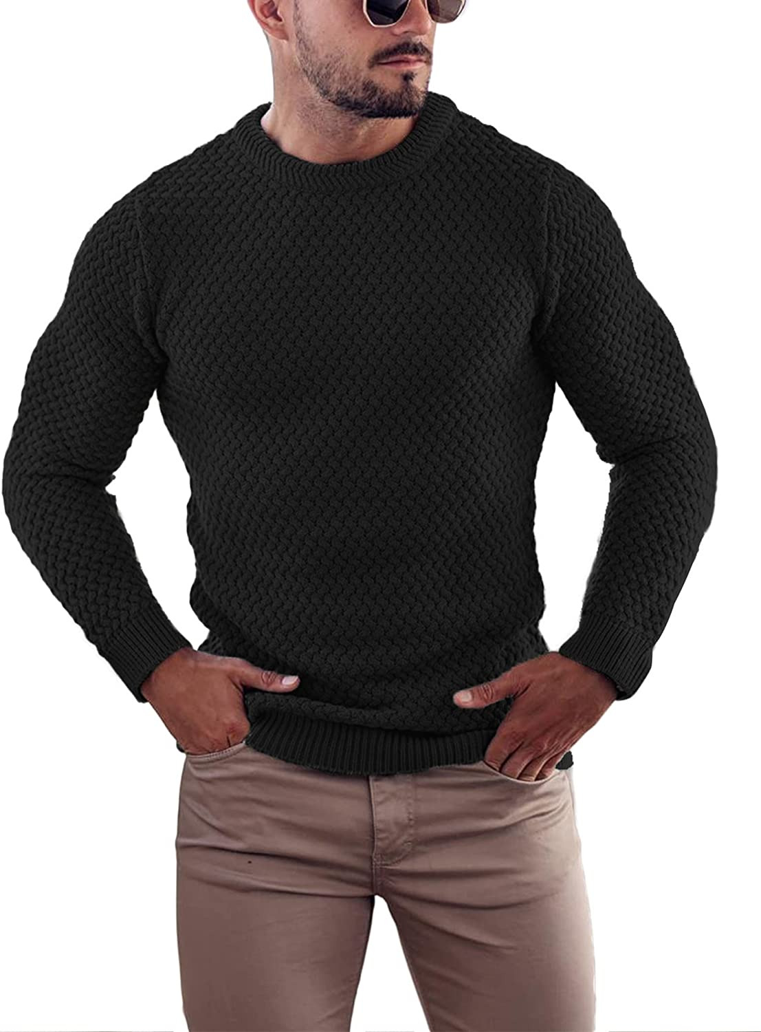 COOFANDY Mens Pullover Knitted Sweater Crewneck Stylish Knitwear Casual Slim Fit Weave Knit Jumper