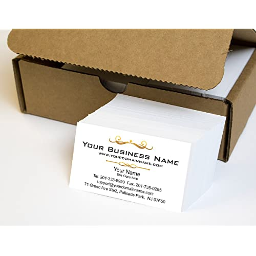 Simple Custom Premium Business Cards 500 pcs Full color - White front-White back (129 lbs. 350gsm-Thick paper), Made in The USA
