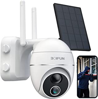 Solar Security Camera Outdoor, Wireless WiFi 360° PTZ Camera Outdoor, Solar 15000mAh Battery Powered Home Cameras with 108...