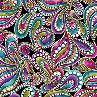 Colorful Paisley Print, Black Background, Cat-I-Tude, Ann Lauer, Benartex, By the Yard