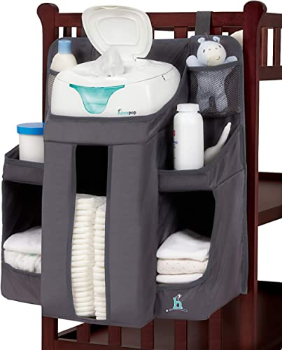 hiccapop Hanging Diaper Organizer for Changing Table and Crib, Diaper Stacker and Crib Organizer | Hanging Diaper Cad...