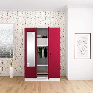 GODREJ INTERIO Slimline 3 Door Steel Almirah with Locker, Drawer, Star Mirror in Ceremine Red,Textured Finish