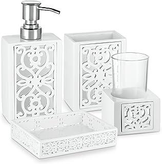 Dwellza Mirror Janette Bathroom Accessories Set, 4 Piece Bath Ensemble, Bath Set Collection Features Soap Dispenser Pump, ...