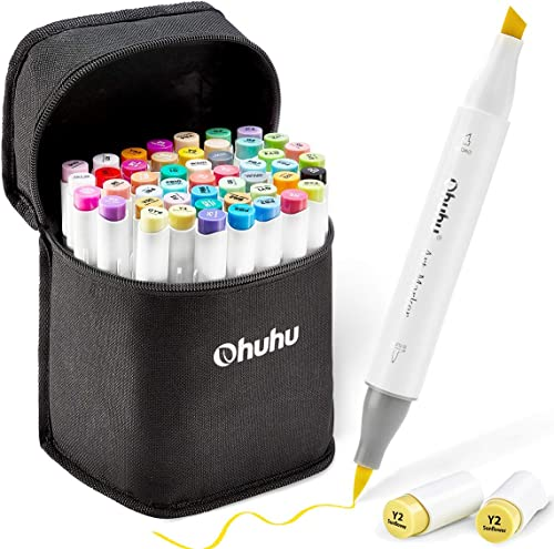 Ohuhu 48 Colors Adult Coloring and Illustration, Bonus 1 Blender , Double Tipped Brush and Chisel Sketch Alcohol Mark...