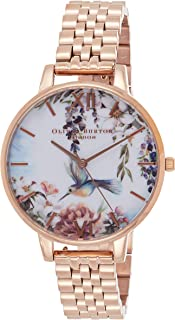 Olivia Burton Women's White & Floral Dial Ionic Rose Gold Plated Steel Watch - OB16EX133