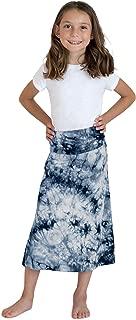 KIDPIK Skirts for Girls – Cute Long Maxi Skirts in Black & White 60s Stripes, Boho Tie-Dye, Desert Camo