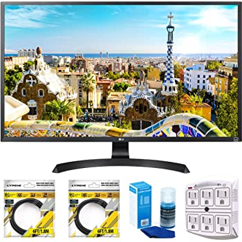 """LG 32"""" 3840x2160 Ultra HD 4k LED Monitor (32UD59-B) with 2x 6ft High Speed HDMI Cable Black, Universal Screen Cleaner & SurgePro 6 NT 750 Joule 6-Outlet Surge Adapter with Night Light"""