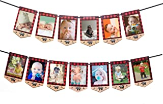 Lumberjack First Birthday Photo Banner Baby Monthly Photo Prop Buffalo Plaid Camping Bunting Garland, Woodland Party Decor