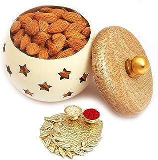 Ghasitaram Gifts Diwali Gifts - White Wooden Almonds Jar with Pooja Thali
