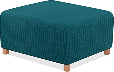 TAOCOCO Ottoman Cover Rectangle Storage Ottoman Slipcover Stretch Foot Rest Stool Covers Furniture Protectors Spandex Jacquard Fabric with with Elastic Bottom Turquoise